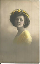 Vintage Colour Enhanced Photographic Postcard Portrait Of A Woman 1911 - U4385