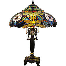 "Tiffany Style Table Lamp Gold Stained Glass Jewel Dragonfly Flower Shade 27"" H"