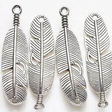 5Pcs Tibetan Silver Loose Feather Charms Pendant For Necklace Bracelet Making