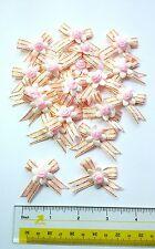 30 pcs Mini Trim Rose Head Gold Bar Coral Satin Ribbon Bow Craft Decorating
