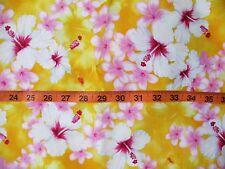 Yellow Hibiscus Plumeria Hawaiian Cotton Fabric 3 yards - New