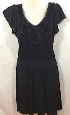 Soprano Drop Waist Black Dress w/ Black Flower Detail at Neckline Size Small