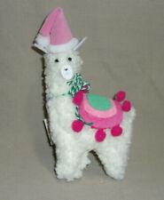 "6"" tall cloth llama pink felt Santa hat & rose/teal blanket Christmas Ornament"