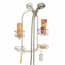 mDesign Shower Caddy for Hand Held Shower Head and Hose, Swivel Baskets - Satin