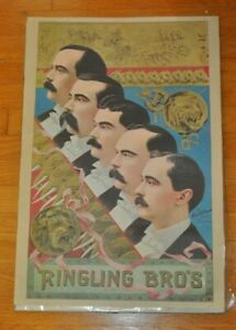 Vintage Ringling Brothers Circus Poster Measures 17x25 Inches Nice Condition