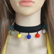 Ethnic Colorful Collar Ribbon Chain Women Boho Necklace Choker Jewelry Ball