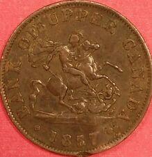 1857 Bank of Upper Canada Half Penny   ID #88-41