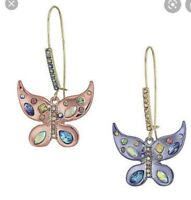 $45 Betsey Johnson Womens Blooming Crystal Mismatch Butterfly Drop Earrings E1D