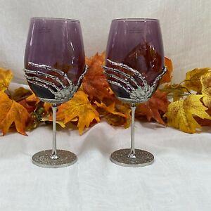 Halloween Gothic Skeleton Hand Purple Wine Glass Goblet Silver Metal Stemmed 2