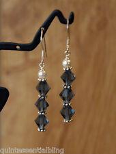 925 Sterling Silver Montana Blue Swarovski Crystal Elements Stick Earrings