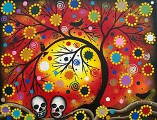 NEEDLEPOINT Canvas 14 or 18 count_Mexican Art, Day Of The Dead, Tree Art, Skull