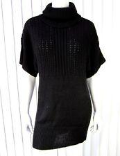 DKNY CITY SHORT SLEEVE TURTLENECK SWEATER DRESS SIZE S SMALL SOLID BLACK