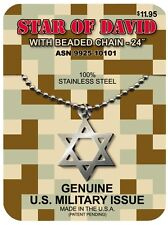 GI JEWELRY,  U.S. Military, Judica STAR OF DAVID Necklace Non-Reactive Steel