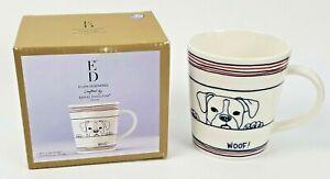Dog Woof! Mug ED Ellen Degeneres Crafted by Royal Doulton 16.5 oz White Blue Red