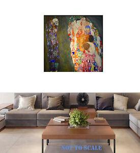 "Gustav Klimt life death Framed vintage Canvas painting  art print 24"" x 24"""