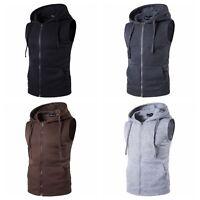 MENS Full Zip Sleeveless Hoodie Hooded Sweatshirt Sweater Vest Waistcoat