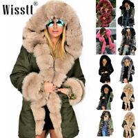 Women's Plus Size Faux Fur Parka Hooded Fur Lining Thicken Warm Winter Long Coat