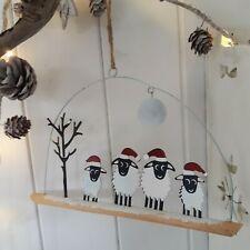 Christmas Sheep with Full Moon Hanging Christmas Decoration by Shoeless Joe