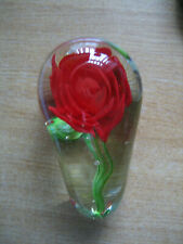 LARGE GLASS 'ROSE' PAPERWEIGHT - UNBRANDED