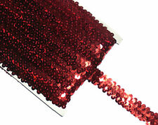 STUNNING 2 ROW ELASTIC STRETCH SEQUIN TRIM 22MM, VARIOUS COLOURS, SOLD BTM
