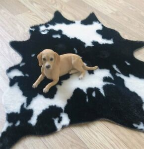 78x105CM Cowhide Cow Hide Print Area Rug Skin Mat Leather Faux Fur Animal Carpet