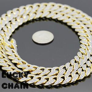"""18K GOLD FINISH BLING OUT LAB DIAMOND CUBAN LINK CHAIN NECKLACE30""""x14mm 230g IB8"""