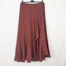 Peruvian Connection Rust Orange Checked Wrap Maxi Skirt UK Size 16