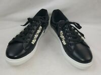 """Refresh """"Pearl-06"""" Women's Lace-Up Fashion Sneakers, Black Size 10"""