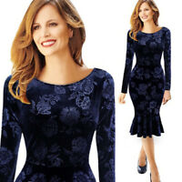 Hot Selling Sexy Women's Navy Blue Floral Over Knee Length Dresses Long Sleeves