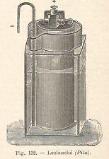 B1926 Pila Leclanché - Incisione antica del 1928 - Engraving