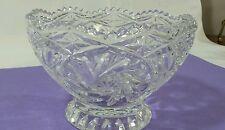 "Cut Glass footed Bowl 6 1/2"" Lead Crystal  Bowl pinwheels"