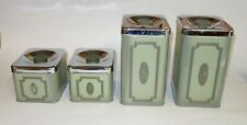 VINTAGE AVOCADO GREEN CANISTER SET FLOUR SUGAR TEA TINS MADE IN CANADA