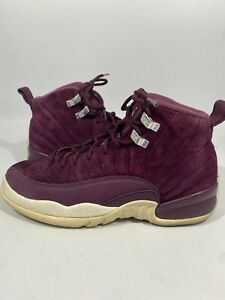 Air Jordan Boys Suede12 Retro Basketball Shoes Burgundy 153265-617 Lace Up 6Y