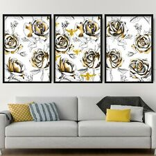 Set of 3 Gold Floral Abstract Rose Bees & Flower Wall Art Print Picture Poster