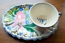 HAND PAINTED MULTI COLOR SNACK PLATE & CUP SET  MADE IN ITALY