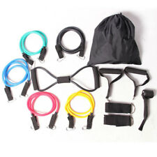 NEW 12PCS RESISTANCE FITNESS EXERCISE BANDS SET TUBE HOME DOOR YOGA LOOP GYM ABS