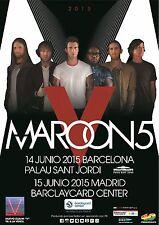 "Maroon 5 ""V World Tour 2015"" Barcelona, Spain Concert Poster -Adam Levine & Band"