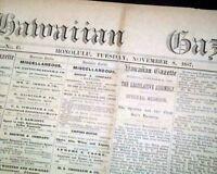 Rare 19th Century HONOLULU HI Hawaiian Kingdom w/ Advertisements 1887 Newspaper