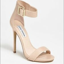 STEVE MADDEN real patent leather nude strappy sandals UK 6 two straps platform