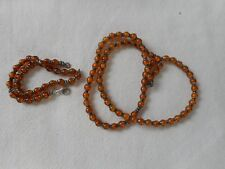 Vintage honey amber on sterling chain very unusual necklace and bracelet