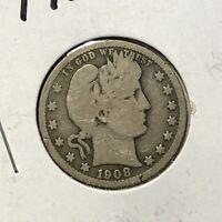 1908-S 25c BARBER QUARTER *NICE GOOD KEY DATE COIN* LOT#AD59