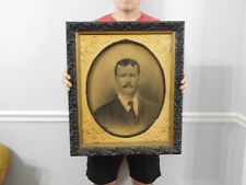 "Antique Ornate Wood Gesso Picture Frame with Glass and Portrait 22.5"" x 26.5"""