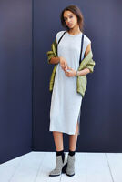 New Womens Urban Outfitters Silence Noise Clea Midi Tshirt Dress Gray Xs-M $69