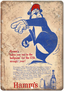 """10"""" x 7"""" Metal Sign - 1951 Hamm's Beer White Sox -  Vintage Look Reproduction"""