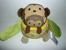 "VGUC Skip Hop Monkey Mama and Baby Teether 6"" Plush Hugging Mom Mother Pouch"