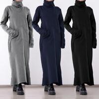 Womens Long Sleeve Cowl Neck Loose Casual Plus Size Sweatshirt Long Maxi Dress