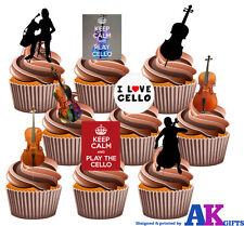 Cello Party Pack 36 Edible Cup Cake Toppers Birthday Classical Music Decorations