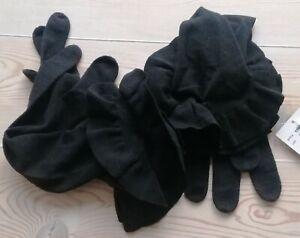 New RALPH LAUREN BLACK LABEL Gloves Ruffle Frill Black Merino Wool Blend M/L