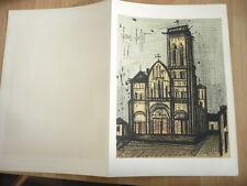 BERNARD BUFFET LITHOGRAPHIE ORIGINALE EGLISE DE LA MADELEINE VEZELAY