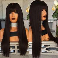 Silky Straight Full Lace Wig Virgin Malayasian Human Hair Wigs With Bangs Virgin